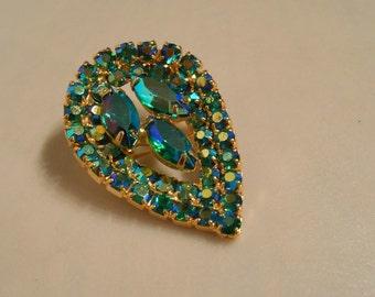 FINAL SALE Caribbean Teardrops - 1950s Turquoise Aurora Borealis Rhinestone Teardrop Brooch