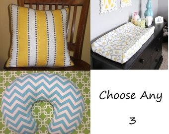 Choose Any 3--Boppy Cover, Changing Pad Cover, Decorative Pillow--YOU DESIGN, I CREATE