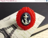 SALE 30% Off Resin Anchor Ring - Red Ring, Nautical Ring, Statement Ring, Silver Adjustable Ring