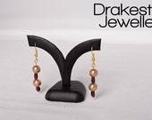 Bronze pearl & garnet earrings
