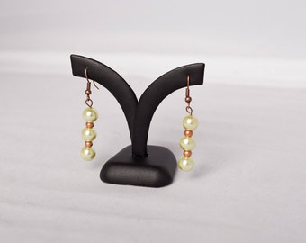 "Pearl Drop Earrings with Copper Accent (""Green Sorbet"")"