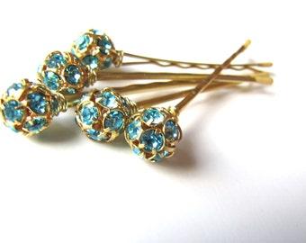 Aqua and Gold Rhinestone Hair Pin Set - 10mm Crystal Glitz and Shimmer