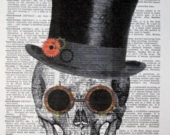 Vintage Dictionary Art Print - Steampunk Skull