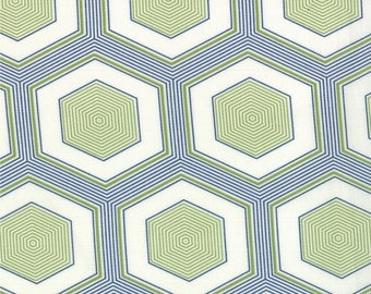 Hexagon Print in Green and Navy Blue from the Simply Style Collection, by Moda
