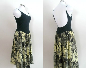 Backless Vintage Sundress 1980s Fredericks of Hollywood Tank Top Black Yellow Floral Skirt