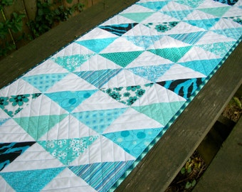 Teal Table Runner Turquoise Aqua Quilted Triangles Chevrons Handmade