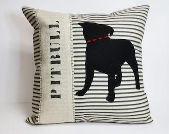 Pit Bull Pillow, Pit Bull Silhouette Decorative Pillow, Felt Pit Bull Silhouette Decorative Pillow, Pit Bull Dog Silhouette Pillow, Gift