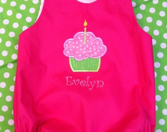 custom boutique childrens clothing girl bubble romper dress applique monogrammed birthday outfit bubble