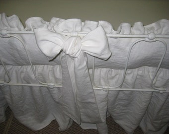 "Bright White Washed  Linen Crib Bedding-2"" Ruffled Bumpers-Tiny Ties-3 Over Sized Sashes-Storybook Crib Skirt-Heavy Weight Washed Linen"