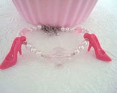 Pink Barbie Shoes Heels Beaded Bracelet Arm Candy