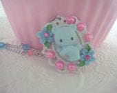 Kawaii Teddy Bear Baby Blue Cameo Flower Necklace