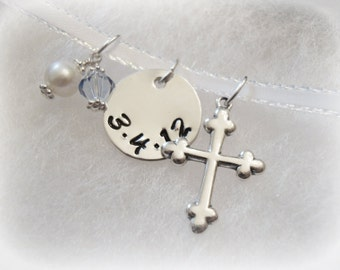 Bridal Bouquet Sterling Silver Charm Wedding Keepsake with Cross and Swarovski Crystals