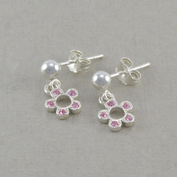 Items similar to little girls pink flower earrings for Gemsprouts tiny plant jewelry