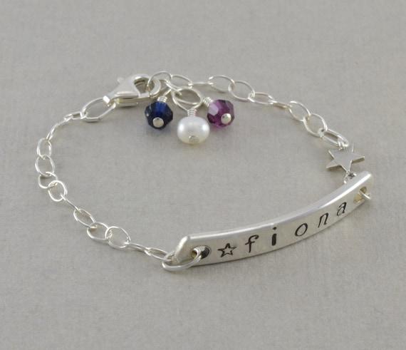 baby id bracelet hand stamped sterling by sixsistersbeadworks