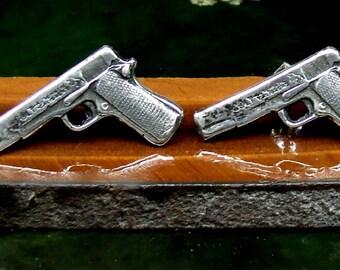 45 Caliber Gun Stud Earrings Sterling Silver Free Domestic Shipping