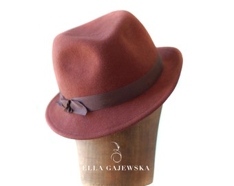 Chocolate Brown Felt Hat - Autumn Trilby - All Year Round Hat - Hand Blocked Wool Trilby Hats - Unisex Funky Hat - Accessory