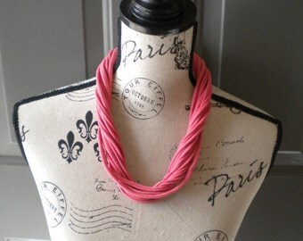 Jersey Scarf Necklace in Coral