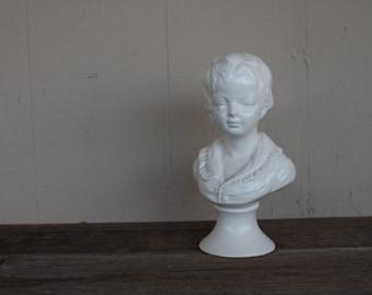 Vintage White Ceramic Boy Bust, Made in Japan, Napco