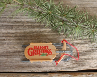 Vintage Christmas Ornaments--1984 Season's Greetings Nostalgic Sled, Hallmark