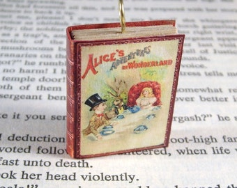 Miniature Classic Novels Book Necklace Charm Alice's Adventures in Wonderland