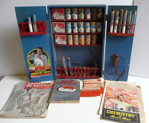 Antique Toy Gilbert Chemistry Outfit Set Wooden Case Manual