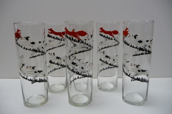 Six vintage drinking glasses Fox and Hound Dalmatian dog Tall glass set