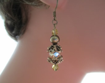 Downton Abbey Inspired Earrings Pale Gold Dangle Antique Bronze Pearls Antique Gold Bead caps