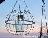 Mason Jar Garden Art Solar Light Upcycled Outdoor Light Blue Mason Jar Garden Decor Hanging Lantern