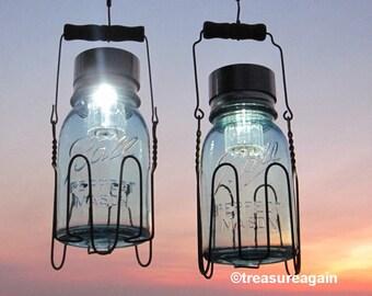 rustic country lantern jars blue mason lamps home and garden decor metal basket 2 - Outdoor Solar Lanterns