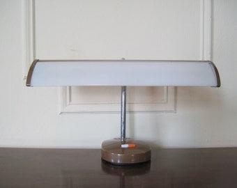 1970s Brown and Orange Metal Desk Lamp - vintage flexarm, gooseneck Drafting light