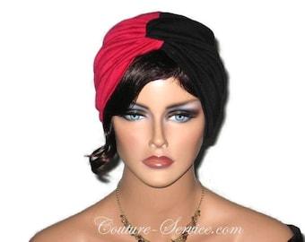 Red Turban, Black Turban, Women's Handmade Fashion, Bi-colored, Twist, Hat, Turbin, Hair, Head, Head Wear, Head Wrap, Fashionable, Two Color