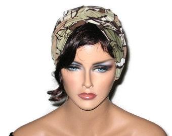 Tan Turban, Brown, Women's Turban, Fashion Turban, Tropical Print, Tan Abstract Turban, Brown Twist Turban, Turbin, Turbin Hat, Fashionable