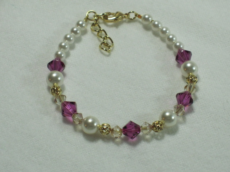 flower girl gift bracelet little girls jewelry swarovski pearl. Black Bedroom Furniture Sets. Home Design Ideas