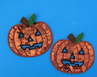 2 pcs Iron-on Sequins Patch Halloween Pumpkin 3.25 inch