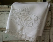 Antique Embroidered Towel Handmade Lace