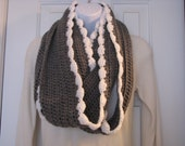 Hand crochet infinity scarf/cowl and fingerless glove set-grey and white