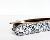 Royal Blue Floral Pencil Case, Zipper Pencil Case, Small Cosmetic Pouch