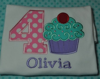 Cupcake Birthday Shirt Long or Short Sleeve Girls Any Number 1-9