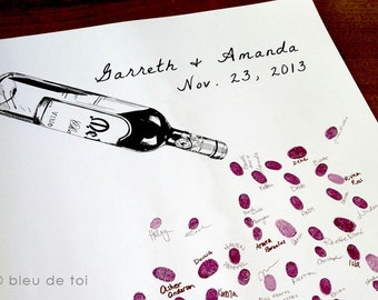 Thumbprint Guest Book for Vineyard Weddings, Red Wine Bottle, Standard Label, Alternative Guest book (with 1 ink pad and 1 coordinating pen)