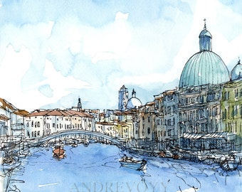 Venice Scalzi Bridge Italy art print from original watercolor painting
