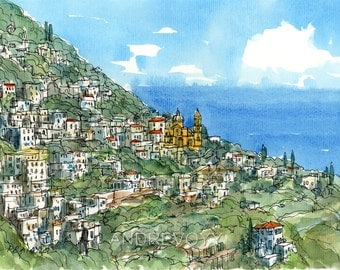 Praiano Italy art print from an original watercolor painting
