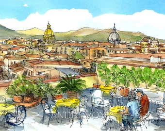 Palermo Sicily Italy  art print from an original watercolor painting
