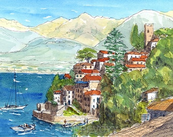 Corenno Plinio Lake Como  Italy art print from an original watercolor painting