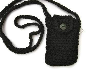 Crocheted small purse for iphone/smartphone with cross-body strap in black- iphone cardigan