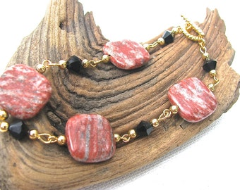 Fall Colors Red Sesame Jasper and Black Crystal Gold Segmented Chain Bracelet