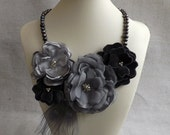 Grey Pearl Statement Necklace with Satin & Chiffon Flowers and Peacock Feathers