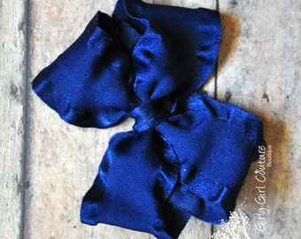 Navy Blue Double Ruffle Stackable Bow 4 Inch