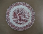 red transfer ware Commemorative plate: 1935 Connecticut  tercentenary Hartford Charter Oak