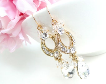 Bridal Jewellery, Gold Crystal Bridal Statement Earrings