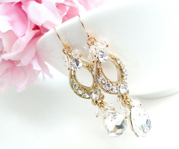Bridal Jewellery, Gold Crystal Bridal Statement Earrings